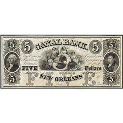 1800's $5 Canal Bank New Orleans, Louisiana Obsolete Note