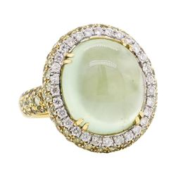 18KT Yellow Gold 21.95 ctw Green Tourmaline, Green Sapphire and Diamond Ring