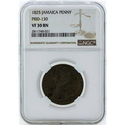 1825 Jamaica Penny PRID-130 Coin NGC VF30BN