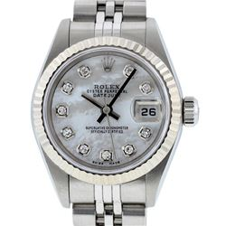 Rolex Ladies Stainless Steel Mother Of Pearl Diamond Quickset Datejust Wristwatch