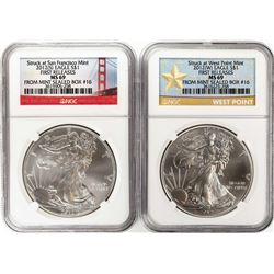 Lot of 2012-W & 2012-S $1 American Silver Eagle Coins NGC MS69 First Releases