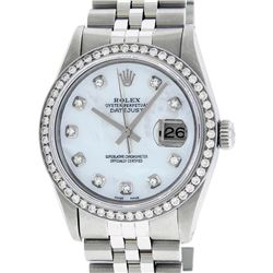 Rolex Mens Stainless Steel Mother Of Pearl Diamond 36MM Datejust Wristwatch