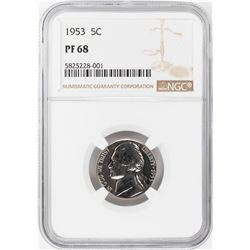 1953 Proof Jefferson Nickel Coin NGC PF68