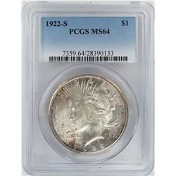 1922-S $1 Peace Silver Dollar Coin PCGS MS64