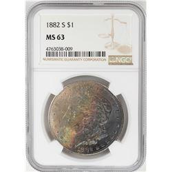 1882-S $1 Morgan Silver Dollar Coin NGC MS63 Amazing Toning