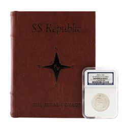 1858-O 8 in Rock Seated Liberty Half Dollar Coin NGC Shipwreck Effect w/ Book