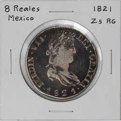 1821 Zs RG Mexico 8 Reales Silver Coin