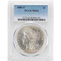 1886-S $1 Morgan Silver Dollar Coin PCGS MS62
