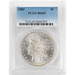 1882 $1 Morgan Silver Dollar Coin PCGS MS65