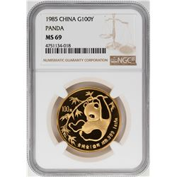 1985 China 100 Yuan Panda Gold Coin NGC MS69