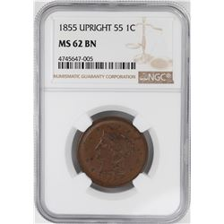 1855 Upright 55 Braided Hair Large Cent Coin NGC MS62 BN