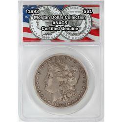1893 $1 Morgan Silver Dollar Coin ANACS Certified Genuine