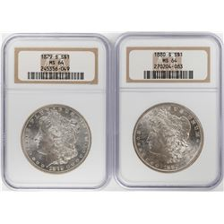 Lot of 1879-S & 1880-S $1 Morgan Silver Dollar Coins NGC MS64