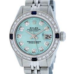 Rolex Ladies Stainless Steel Ice Blue Diamond & Sapphire Datejust Watch