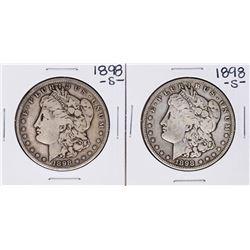 Lot of (2) 1898-S $1 Morgan Silver Dollar Coins