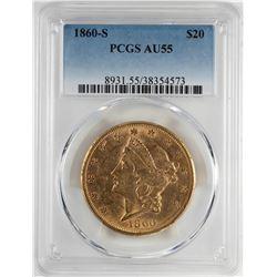 1860-S $20 Liberty Head Double Eagle Gold Coin PCGS AU55