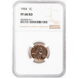 1954 Proof Lincoln Wheat Cent Coin NGC PF68RD
