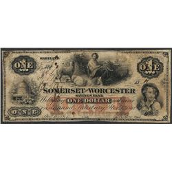 1862 $1 The Somerset and Worcester Savings Bank Maryland Obsolete Note