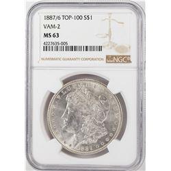 1887/6 VAM-2 $1 Morgan Silver Dollar Coin NGC MS63 Top 100