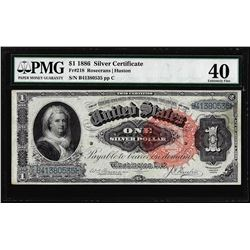 1886 $1 Martha Washington Silver Certificate Note Fr.218 PMG Extremely Fine 40