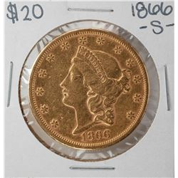 1866-S $20 Liberty Head Double Eagle Gold Coin