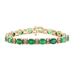 14KT Rose Gold 17.62 ctw Emerald and Diamond Bracelet