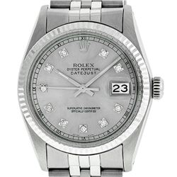 Rolex Men's Stainless Steel 36MM Slate Grey Diamond Datejust Wristwatch