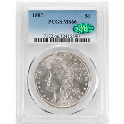 1887 $1 Morgan Silver Dollar Coin PCGS MS66 CAC