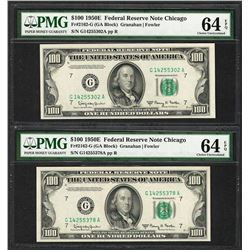 Lot of (2) 1950E $100 Federal Reserve Notes Chicago PMG Choice Uncirculated 64EPQ