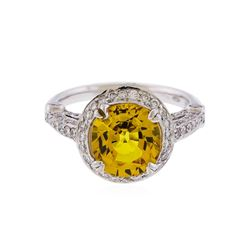 14KT White Gold 3.86 ctw Yellow Sapphire and Diamond Ring