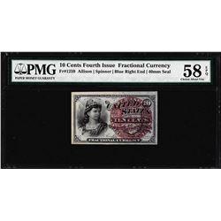 1863 Ten Cents Fourth Issue Fractional Note Fr.1259 PMG Choice About Unc 58EPQ