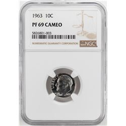 1963 Proof Roosevelt Dime Coin NGC PF69 Cameo