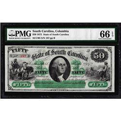 1872 $50 State of South Carolina Revenue Bond Obsolete Note PMG Gem Uncirculated 66EPQ