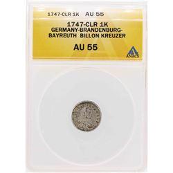 1747-CLR Germany-Brandenburg-Bayreuth Billion Kreuzer Coin ANACS AU55