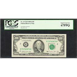 1988 $100 Federal Reserve Note New York Fr.2172-B PCGS Superb Gem New 67PPQ