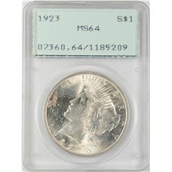 1923 $1 Peace Silver Dollar Coin PCGS MS64 Old Green Rattler