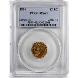 1926 $2 1/2 Indian Head Quarter Eagle Gold Coin PCGS MS63