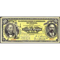 1915 Mexico Veinte Pesos Note