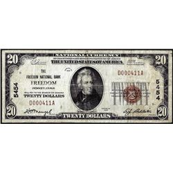 1929 $20 National Bank of Freedom, Pennsylvania CH# 5454 National Currency Note