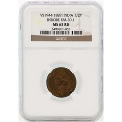 VS1944 1887 India 1/2 Annas Coin NGC MS63RB