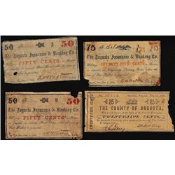 Lot of (4) Augusta Insurance & Banking Co. Obsolete Notes