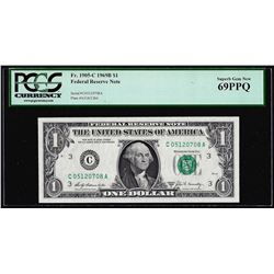 1969B $1 Federal Reserve Note Fr.1905-C PCGS Superb Gem New 69PPQ