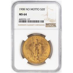 1908 No Motto $20 St. Gaudens Double Eagle Gold Coin NGC MS64