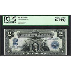 1899 $2 Mini-Porthole Silver Certificate Note Fr.253 PCGS Superb Gem New 67PPQ
