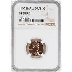 1960 Small Date Proof Lincoln Memorial Cent Coin NGC PF68RD
