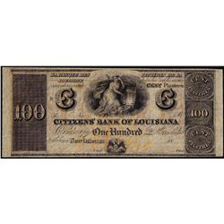 1800's $100 Citizens Bank of Louisiana Obsolete Bank Note