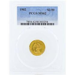 1902 $2 1/2 Liberty Head Quarter Eagle Gold Coin PCGS MS62
