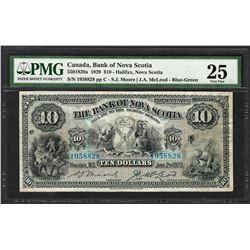 1929 $10 Bank of Nova Scotia Canada Bank Note PMG Very Fine 25