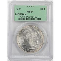 1921 $1 Morgan Silver Dollar Coin PCGS MS64 OGH