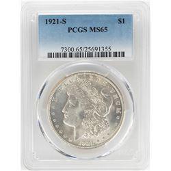 1921-S $1 Morgan Silver Dollar Coin PCGS MS65